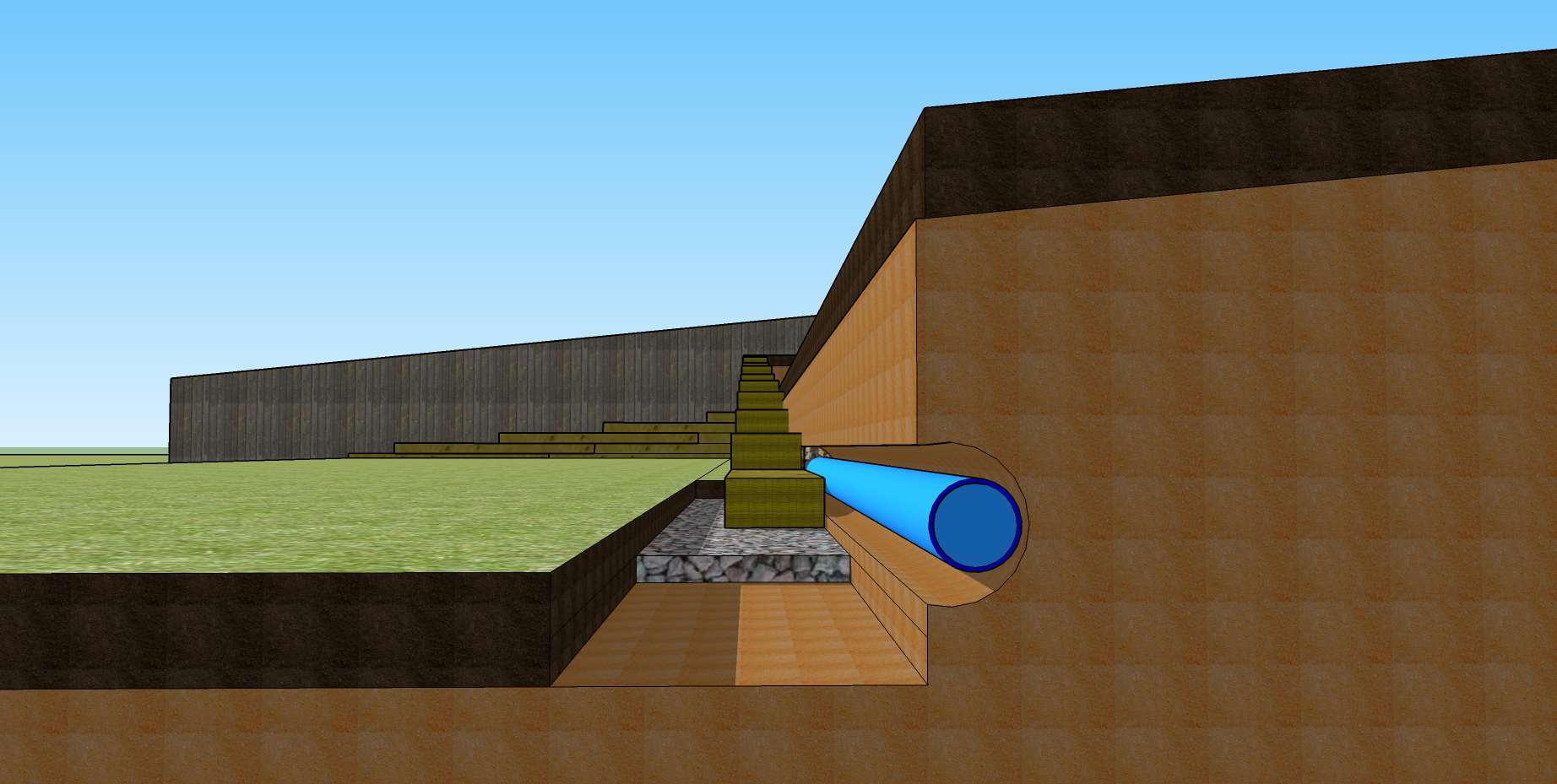 New sleeper retaining wall end view